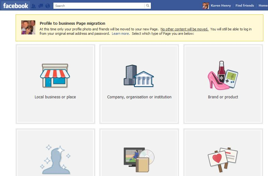 Convert your Facebook profile to a business page
