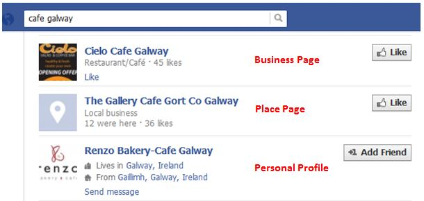 Facebook search results showing personal profile used as a business page