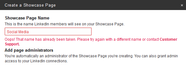 LinkedIn Showcase Pages name not available problem