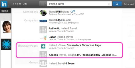 Showcase Pages displayed in LinkedIn search results