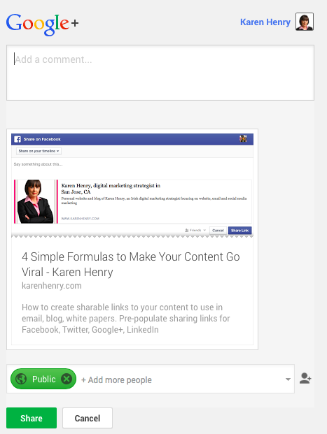 How to prepopulate link for sharing on Google+ – link formula