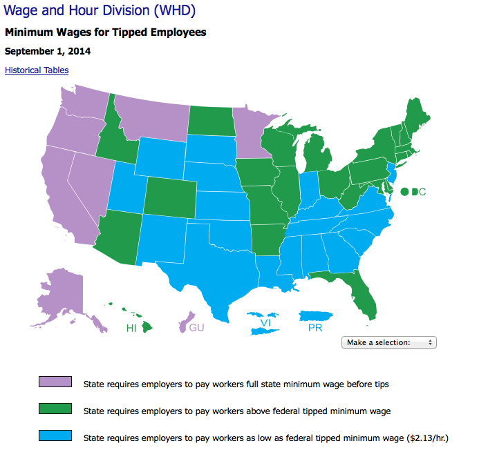 US Dept of Labor Minimum Wages for Tipped Employees by state